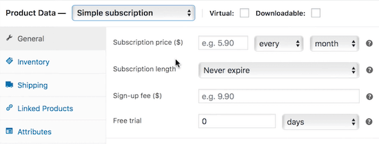 WooCommerce subscription options
