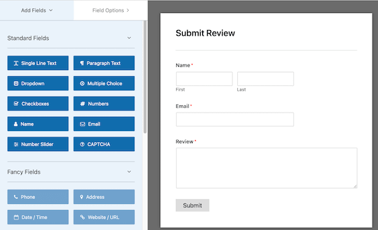 WP Forms drag and drop editor