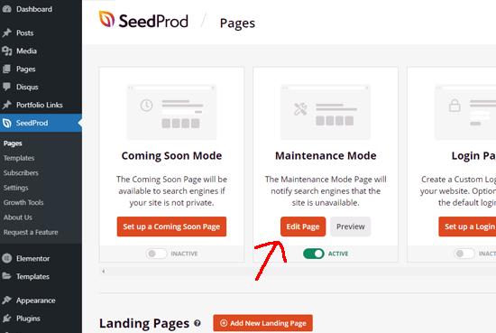 Edit maintenance page
