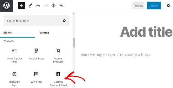 Add a custom Facebook feed block