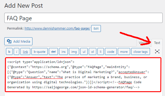 Add FAQ schema in the classic editor