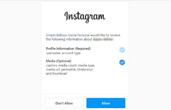 Allow Smash Balloon to access Instagram account