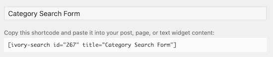Copy category search shortcode