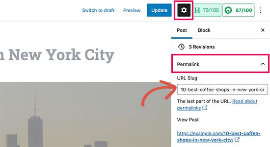 Change URL slug for your post or page