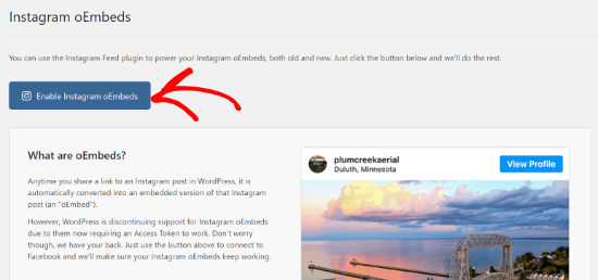 Enable Instagram oEmbeds button