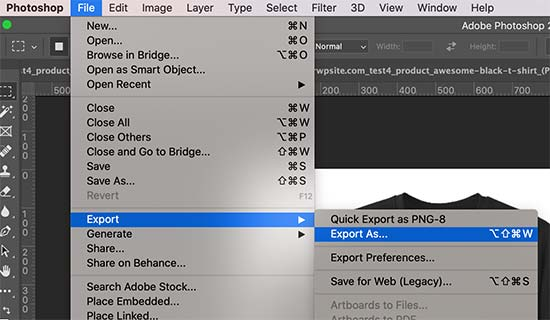 Export for web in Adobe Photoshop