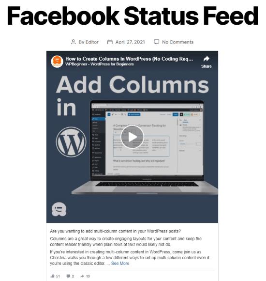 Facebook status example