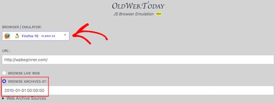 Oldweb.today enter website URL