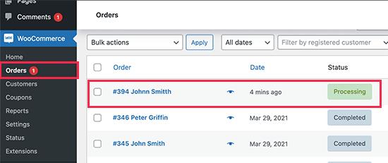 Viewing orders in WooCommerce