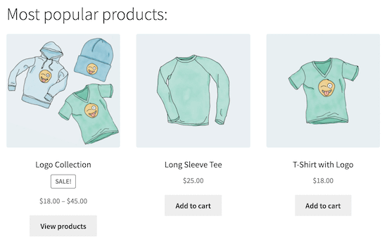 Popular products page example