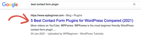 Title in search results