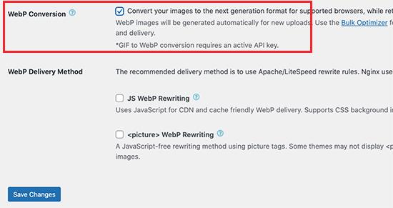 WebP conversion in EWWW