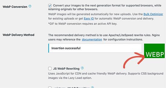 WebP Delivery method successful