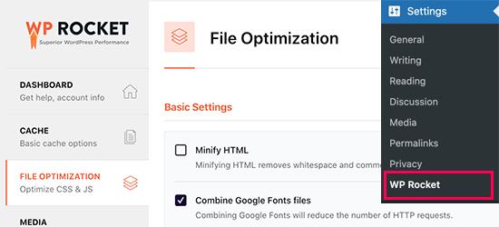 File Optimization in WP Rocket