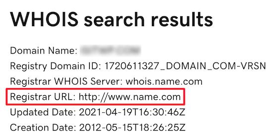 Contact domain name registrar