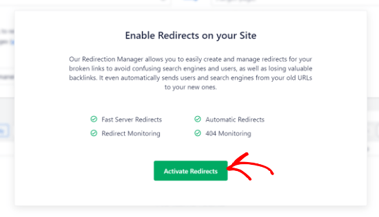 Activate redirects in AIOSEO