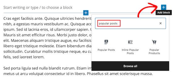 Add Gutenberg popular posts block