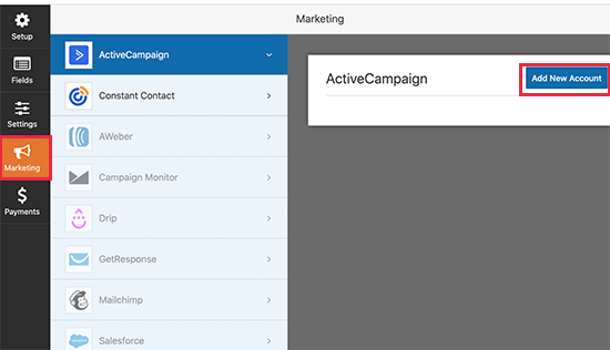 Add ActiveCampaign account in WPForms