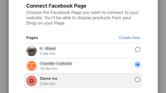 Connect to Facebook page