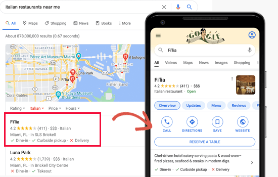 Local search results preview