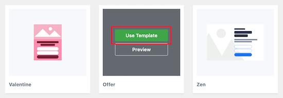 Select OptinMonster template