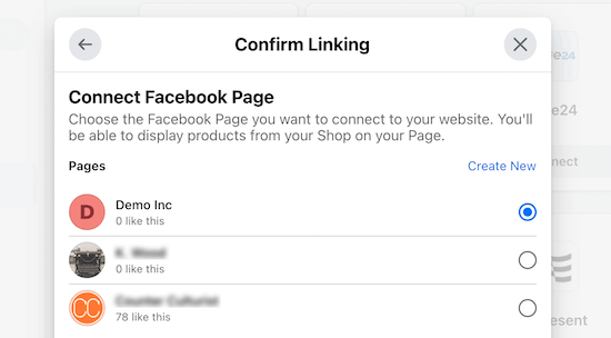 Connect Facebook page