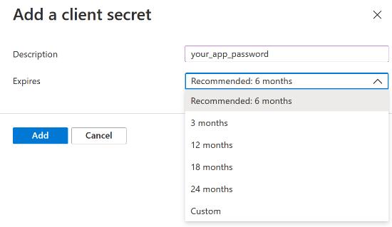 Enter a description and set password expiry time