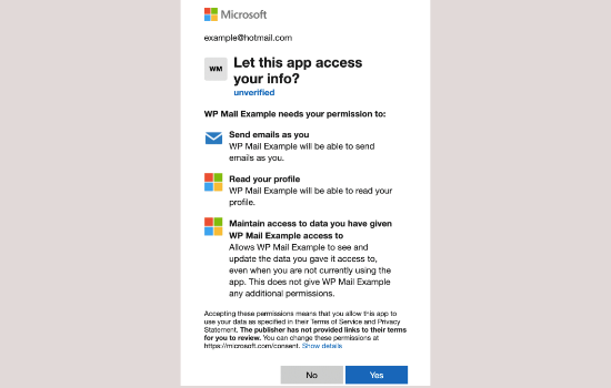 Give permission to connect to your Microsoft account