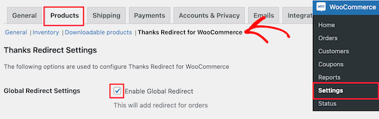Go to thanks redirect options