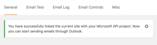 Notice for successfully adding Microsoft API