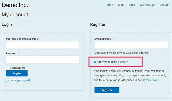 Seller registration page