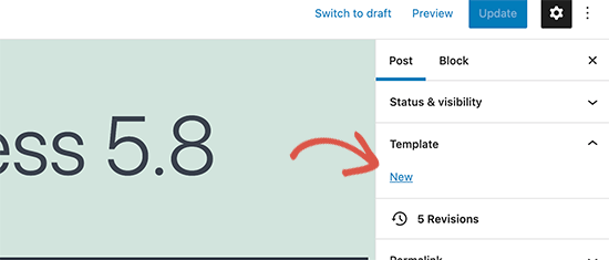 Create a new template in the block editor