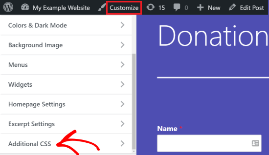 Go to Additional CSS option