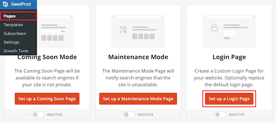 Setup SeedProd login page
