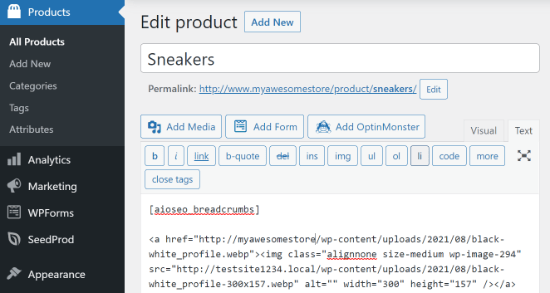 Add shortcode in product page