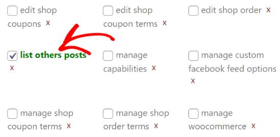 Habilitar la casilla de verificación de lista de publicaciones de otros