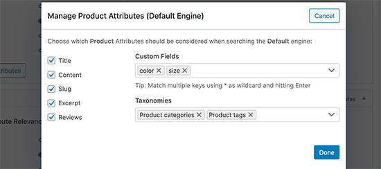 Add WooCommerce search product attributes