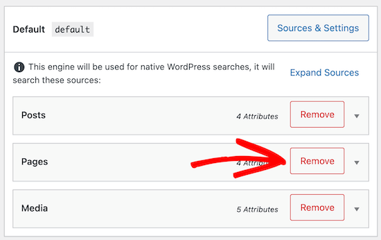 Click button to remove page source