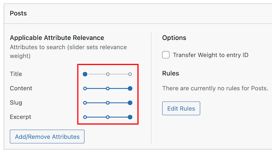 Customize search engine weight