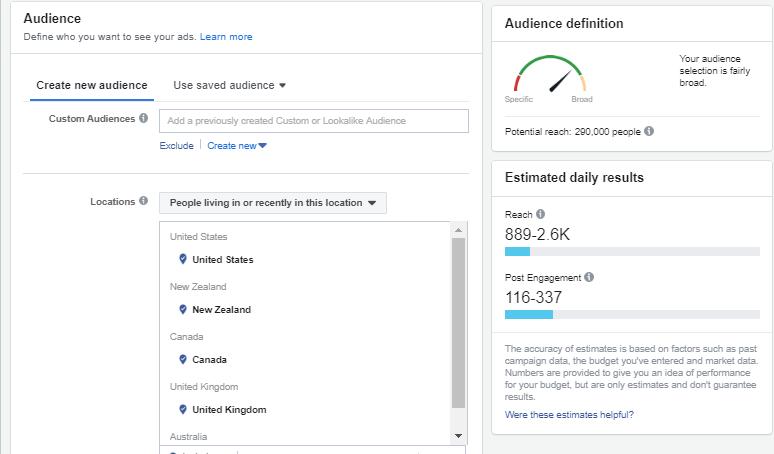 targeting per pubblico di Facebook