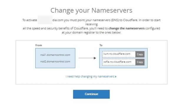 Server nama DNS dari CloudFlare