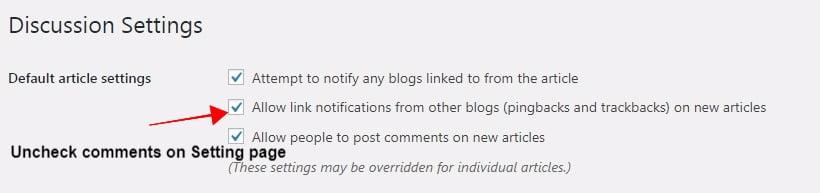 nonaktifkan komentar di wordpress dengan menggunakan halaman pengaturan