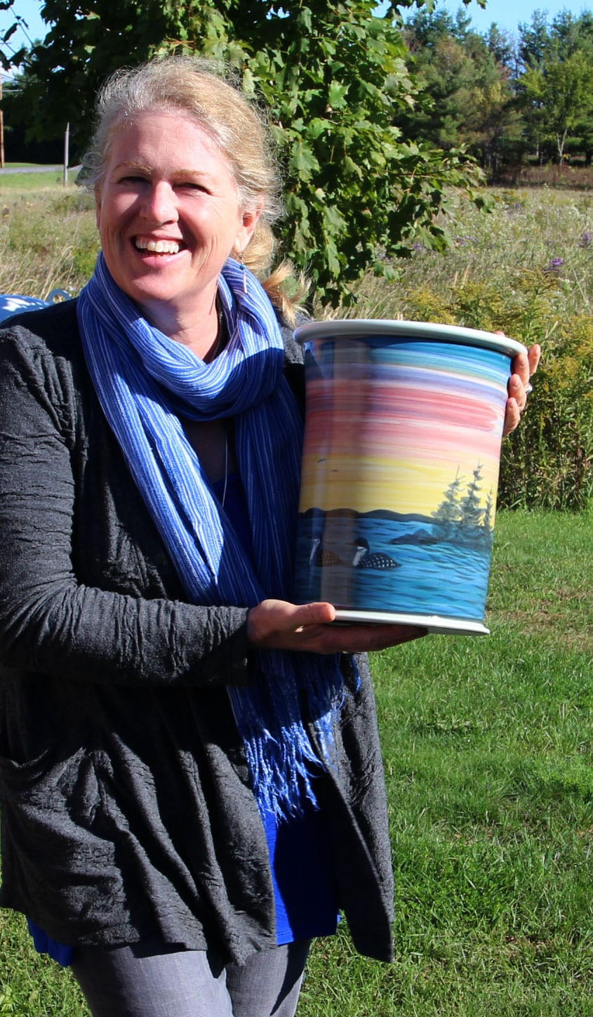 CERAMIC SUNSET VASE <br/> Donated by: ST. LAWRENCE POTTERY <br/> Valued at: $150