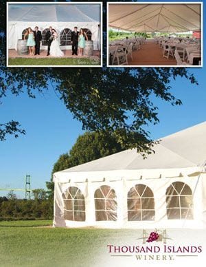 WINERY EVENT TENT RENTAL <br/> Donated by: THOUSAND ISLANDS WINERY <br/> Valued at: $2,500