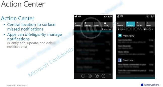Windows Phone 8.1 Notification Center