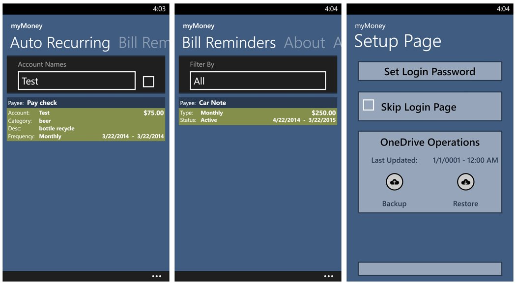 myMoney Auto Recurring, Bill Reminders and Setup