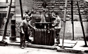 SWEHS 3.1.055.jpg - Date 1930 - Transformer being installed or removed from Bridewell Street undergound substation. Bristol, City .
