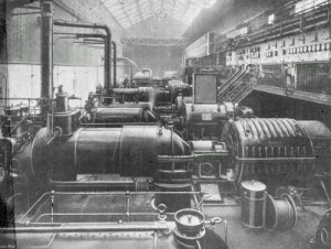SWEHS 3.1.094.jpg - Date c1905 - Avonbank (Feeder Road) Generating Station interior of engine room and switch gallery. Bristol, St Philips Name changed from Avonbank to Feeder Road to avoid confusion with Avonmouth..