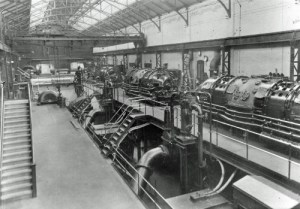SWEHS 7.1.046.jpg - Date 1933 - Engine room A station Brimsdown, Enfield, London showing one of the turbines later purchased by ECLP for installation at Drinnick power station. London, Enfield .