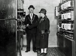 SWEHS 7.1.190.jpg - Date 19/10/1927 - Lemon Quay 11kV substation, 'Truro switch-on' 5.45pm 19th October 1927 by Truro mayor and his wife. Cornwall, Truro .